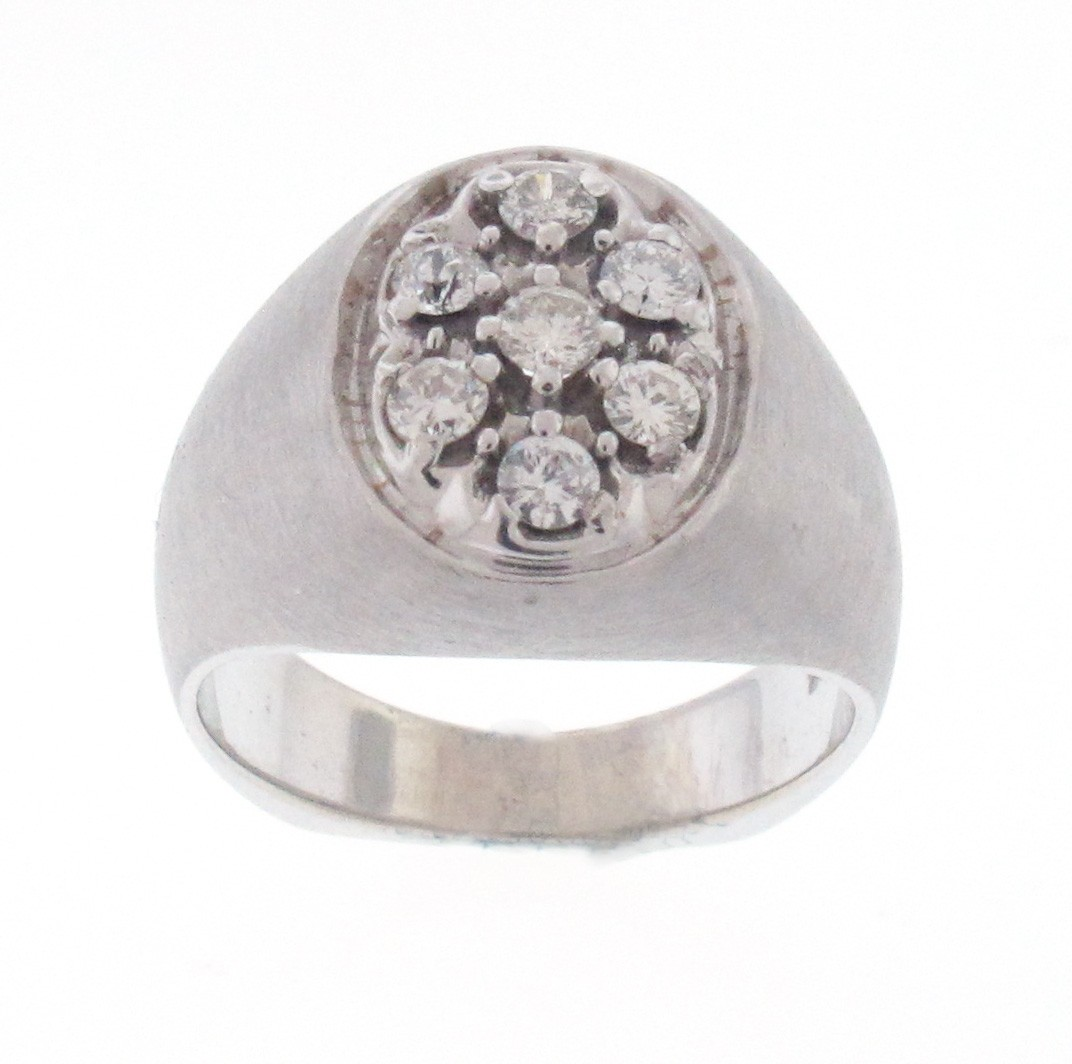 14kt White Gold Diamond Men`s Ring