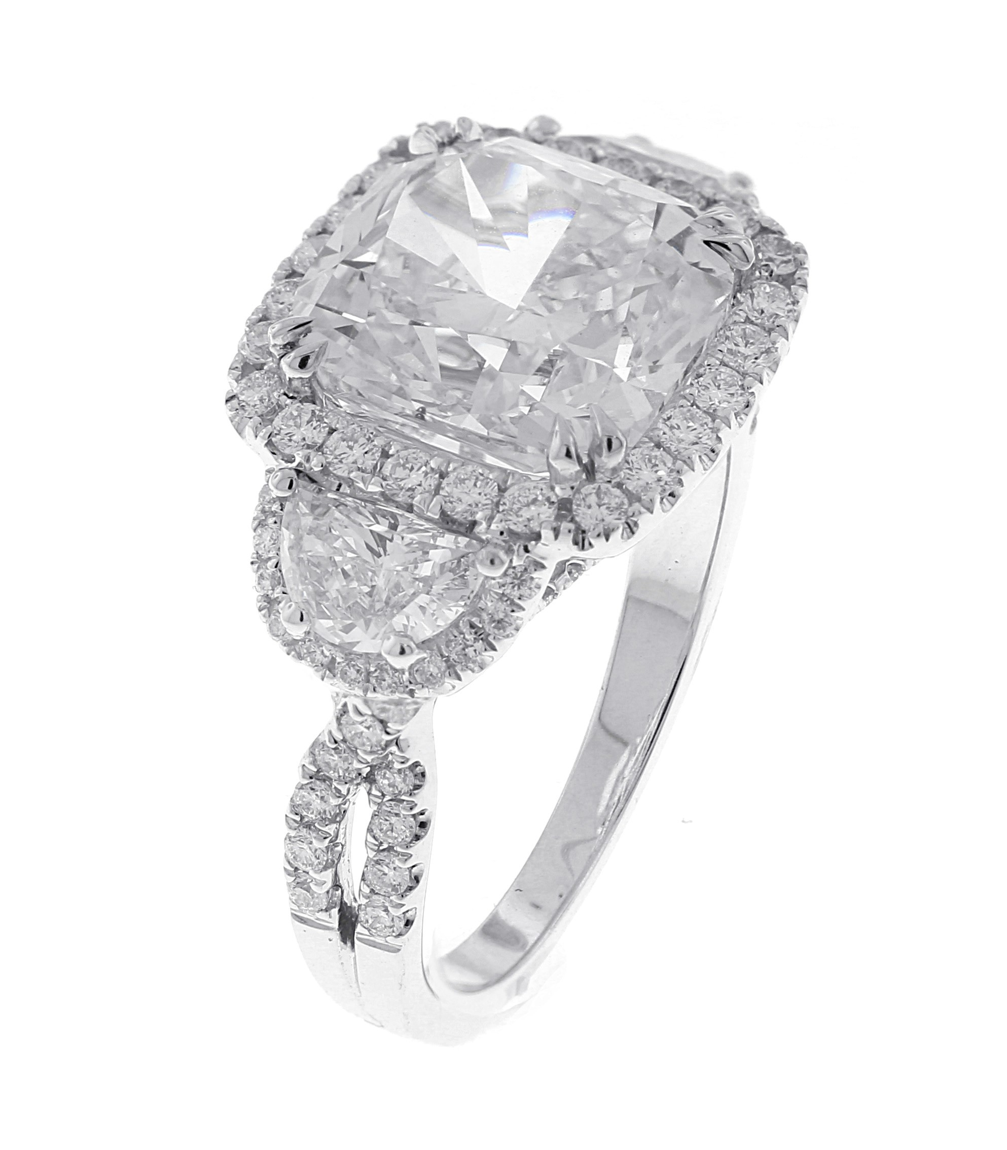 18kt White Gold GIA Certified Cushion Diamond Ring
