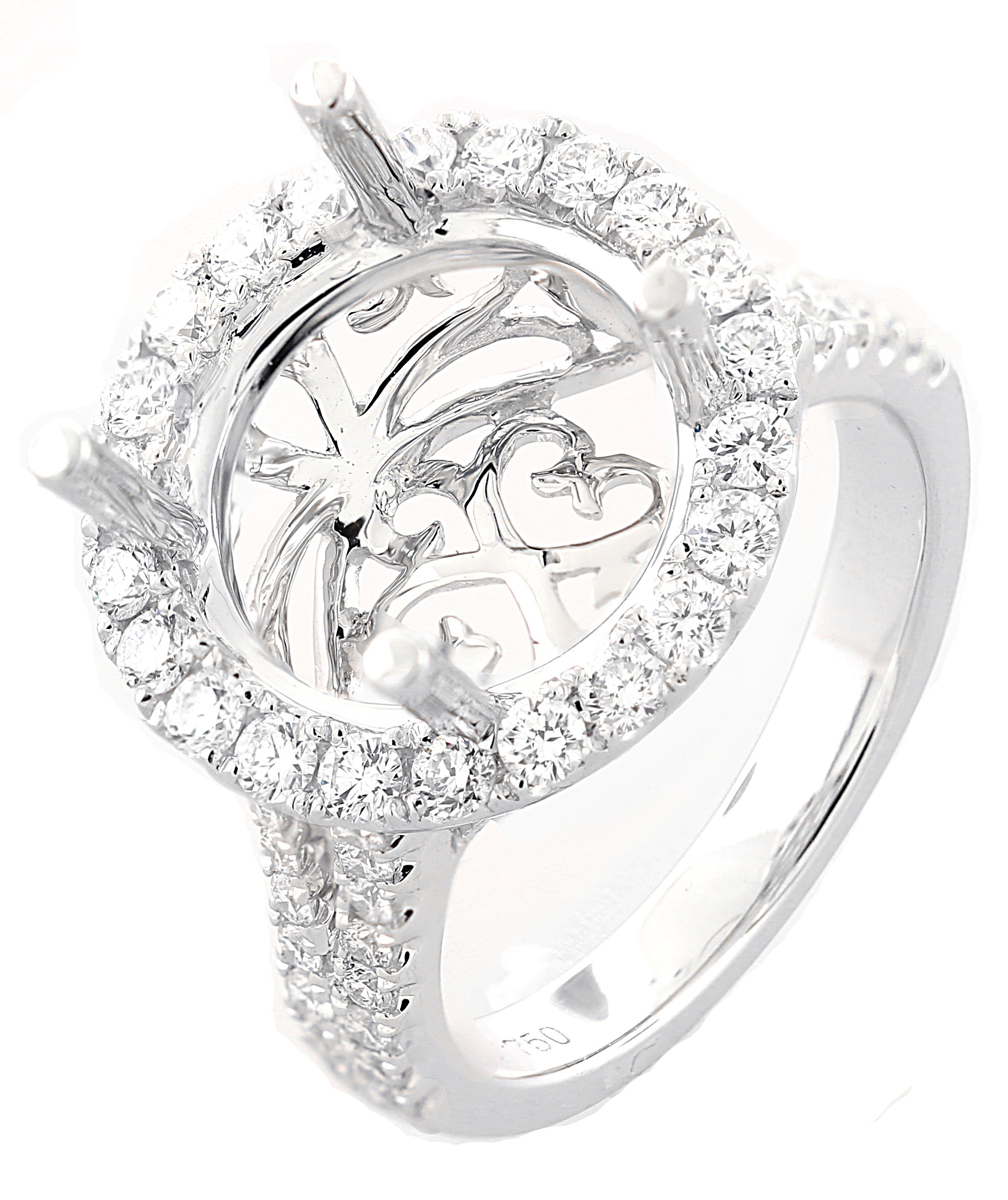 18kt  White Gold Diamond Halo Semi-mount