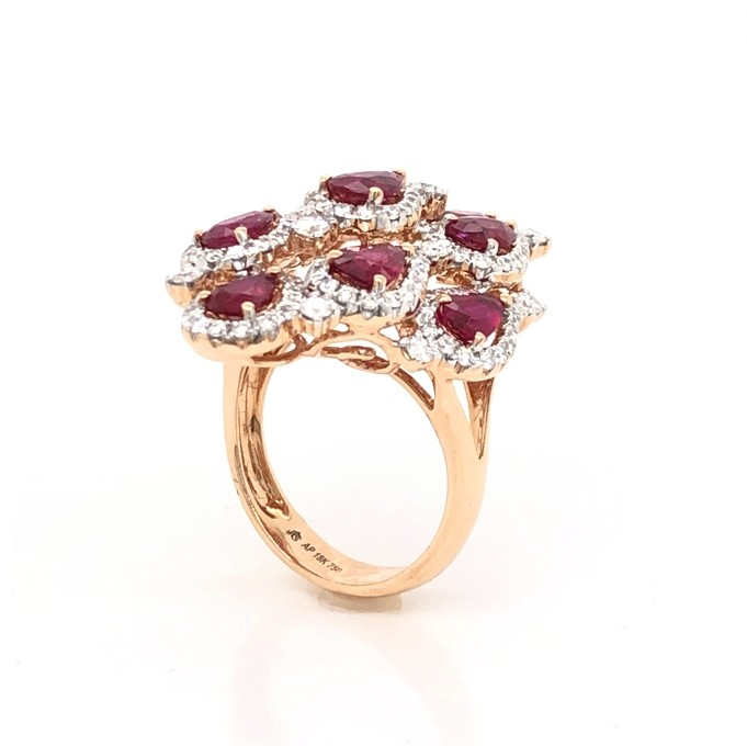 18kt Rose Gold Diamond And Ruby Ring