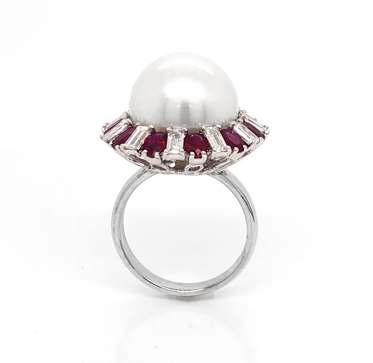 18kt White Gold Diamond, Ruby and Pearl Ring