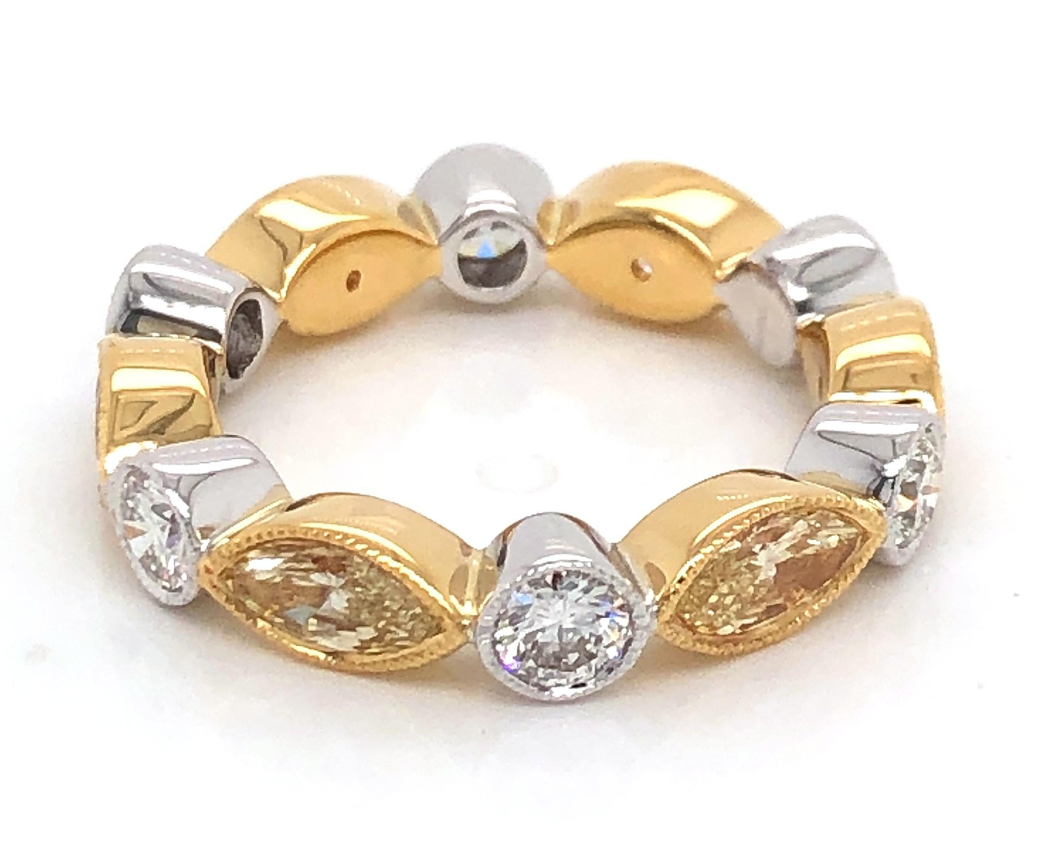 18kt White And Yellow Gold Diamond Band