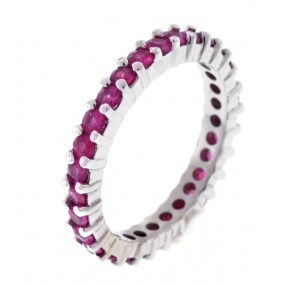 14kt White Gold Pink Sapphire Band