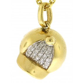 18kt Yellow Gold Diamond Hat Pendant