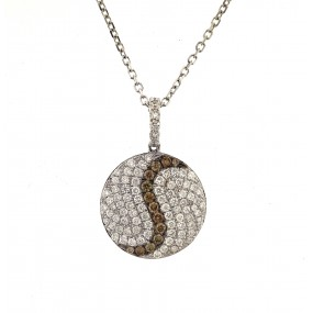 18kt White Gold Champagne and Diamond Pendant