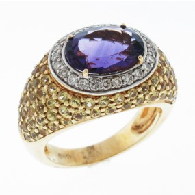 14kt Yellow Gold Amethyst and Yellow Sapphire Ring