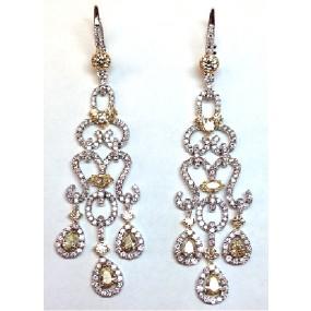18kt Two Tone Yellow Diamond Dangling Earrings