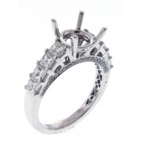 18kt White Gold Diamond Semi Mount