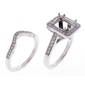 Platinum Diamond Halo Semi Mount