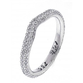 18kt White Gold Diamond Curved Band