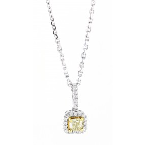 18kt White Gold Yellow Diamond Pendant
