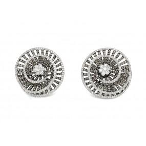 18kt White Gold White And Cognac Diamond Earrings