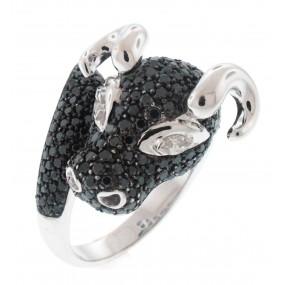 18kt White Gold Black Diamond Bull Ring