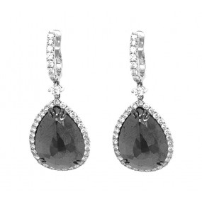 18kt White Gold Black Diamond Dangling Earrings