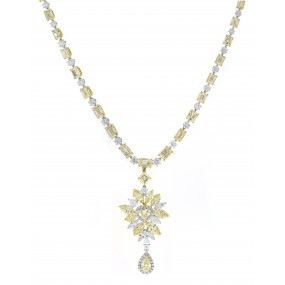 18kt Two Tone Gold Diamond Necklace