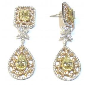 18kt Tri Color Yellow Diamond Dangling Earrings