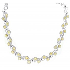 18kt White Gold with Yellow Diamond Necklace