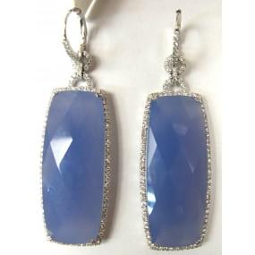 18kt White Gold Blue Chalcedony Dangling Earrings
