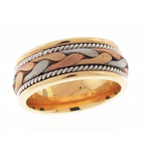 14kt Tri Color Gold Wedding Band