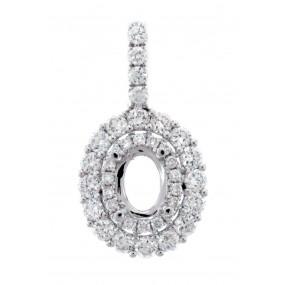 18kt White Gold Diamond Halo Pendant Mounting