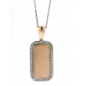 14kt Rose And White Gold Dog Tag Pendant