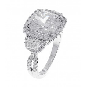 18kt White Gold GIA Certified Cushion Diamond Ring