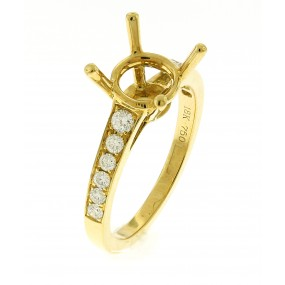 18kt Yellow Gold Diamond Semi Mount