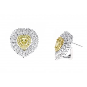 18kt White Gold Yellow Diamond Earring