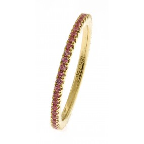 18kt Yellow Gold Pink Sapphire Eternity Band.