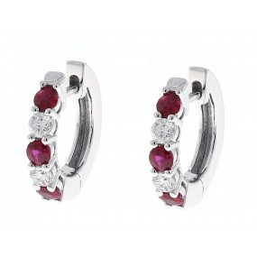 18kt White Gold Diamond And Ruby Huggie Earrings