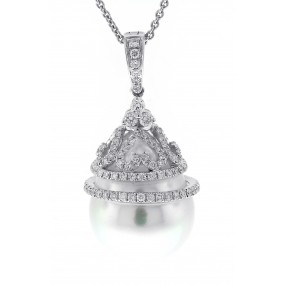 18kt White Gold Diamond And Pearl Pendant