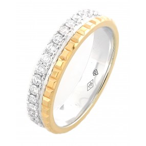 18kt White And Rose Gold Diamond Men's Wedding Band