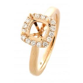 18kt Rose Gold Diamond Halo Semi Mount
