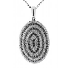 14kt White Gold Black And White Diamond Pendant