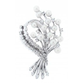 14kt White Gold Diamond And Pearl Pin/Pendant