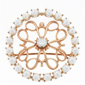 14kt Rose Gold Diamond And Pearl Pin