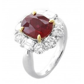 18kt White Gold Diamond And GRS Certified Ruby Ring