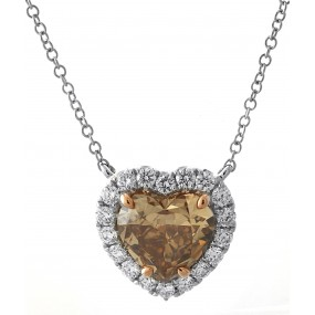 18kt White Gold Diamond And GIA Certified Fancy Yellow-Brown Heart Necklace