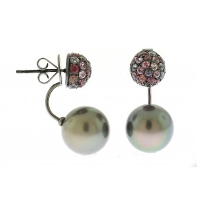 18kt Black Gold Sapphire and Pearl Earrings