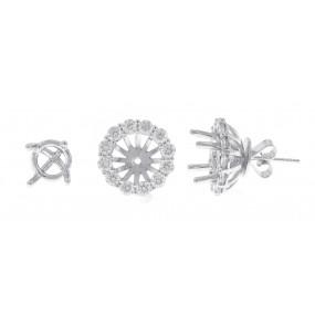 18kt White Gold Diamond Earring Jackets
