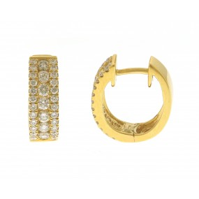 18kt Yellow Gold Diamond Huggie Earrings