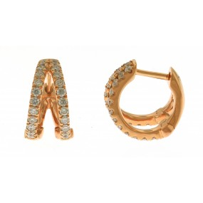 18kt Rose Gold Diamond Huggie Earrings