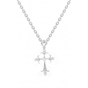 18kt White Gold Diamond Cross Pendant