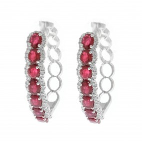 18kt White Gold Diamond And Ruby Hoops