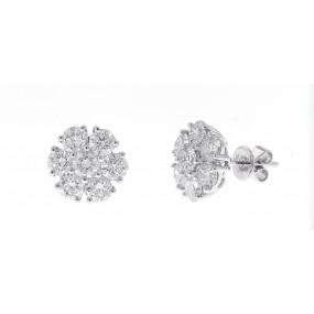 18kt White Gold Diamond Cluster Earrings
