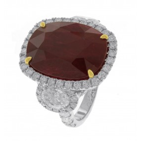 18kt White Gold GIA Certified Ruby And Diamond Ring