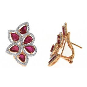 18kt Rose Gold Diamond And Ruby Earrings