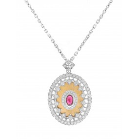 18kt Two Tone Gold Diamond And Ruby Pendant