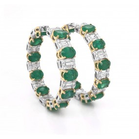 18kt White Gold Diamond And Emerald Hoops