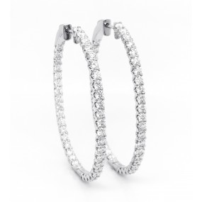 18kt White Gold Diamond Hoops